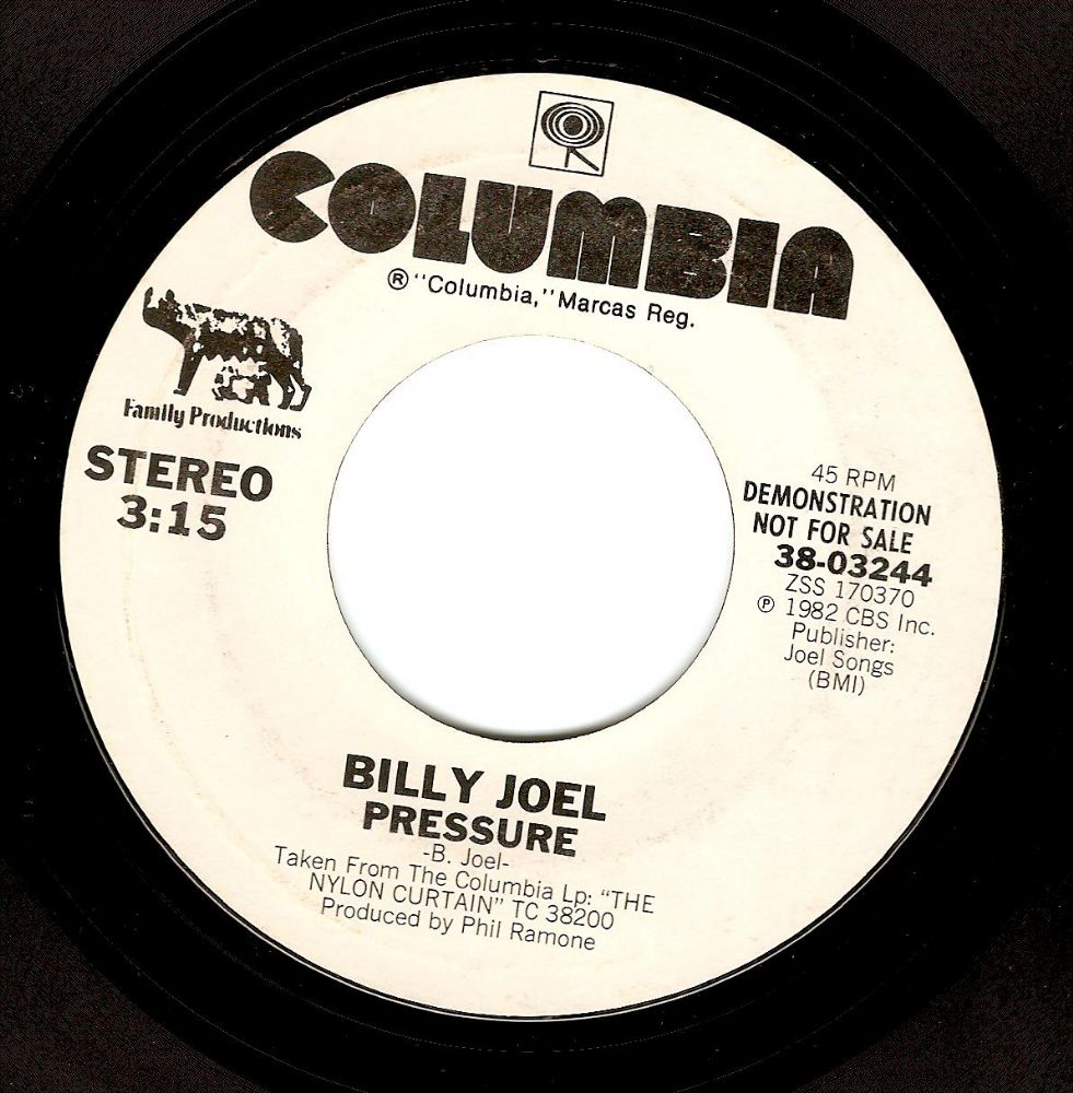 BILLY JOEL Pressure Vinyl Record 7 Inch US Columbia 1982 Demo
